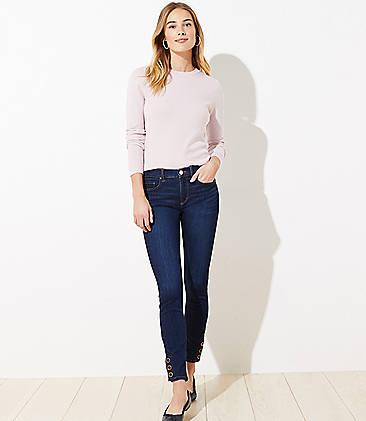 로프트 LOFT Snap Hem Slim Pocket Skinny Jeans in Rich Dark Indigo Wash,Rich Dark Indigo Wash
