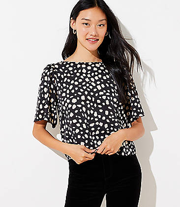 로프트 LOFT Spotted Bow Back Cropped Top,Black
