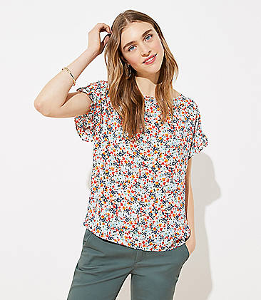 로프트 LOFT Floral Petal Sleeve Mixed Media Top,Whisper White
