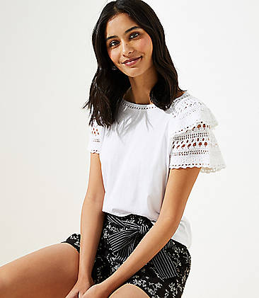 로프트 LOFT Crochet Flutter Top