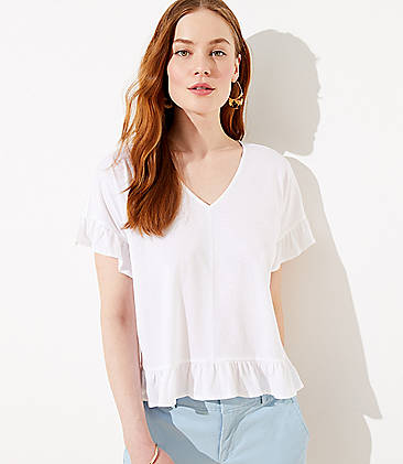 로프트 LOFT Flutter Statement Tee,Whisper White