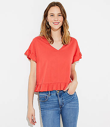 로프트 LOFT Flutter Statement Tee,Vivid Orange