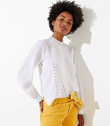 로프트 LOFT Eyelet Cropped Shirt,White