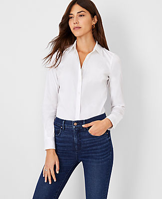 The Perfect Piece. We love the classic appeal of a crisp button-down with a touch of modern stretch. Point collar. Long sleeves with button closure. Button front. Back yoke. Shirttail hem. Ann Taylor Perfect Shirt