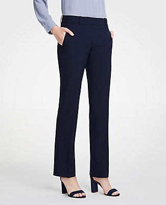 The perfect wear-with-all pants - made in seasonless stretch fabric for a refined, streamlined fit. Front zip with double hook-and-bar closure. Belt loops. Front off-seam pockets. Back welt pockets. Ann Taylor The Petite Straight Pant In Seasonless Stretch - Curvy Fit