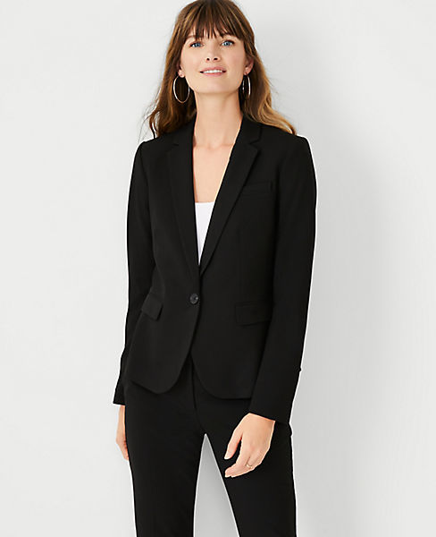 Petite Seasonless Stretch One Button Perfect Blazer