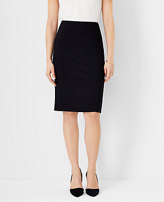 Made from soft and stretchy ponte, our seamed pencil skirt styles an amazingly flattering silhouette. Elasticized waistband. Back yoke. Back vent. Ann Taylor Ponte Pencil Skirt
