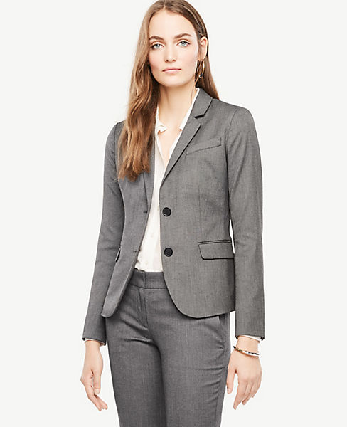 Petite Sharkskin Two Button Jacket