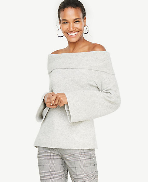 Petite Off The Shoulder Bell Sleeve Sweater