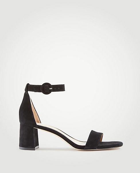 3b5498329de Nicole Suede Block Heel Sandals | Ann Taylor