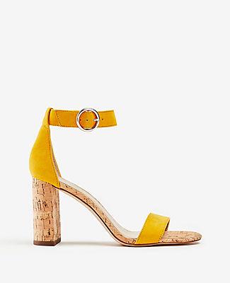 Ann Taylor Leannette Suede Block Heel Sandals In Yellow