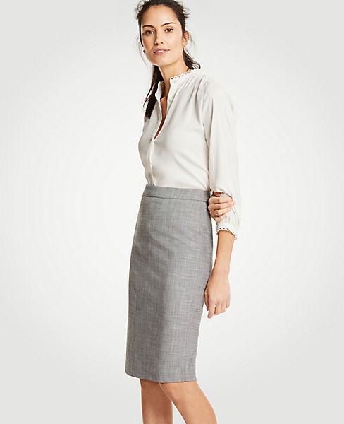 Petite Crosshatch Pencil Skirt