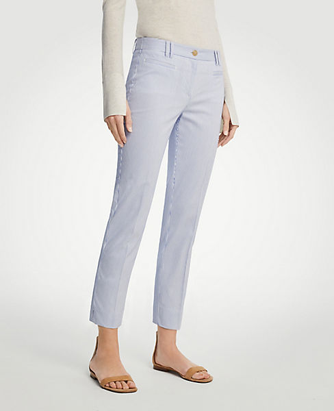 The Petite Crop Pant in Railroad Stripe