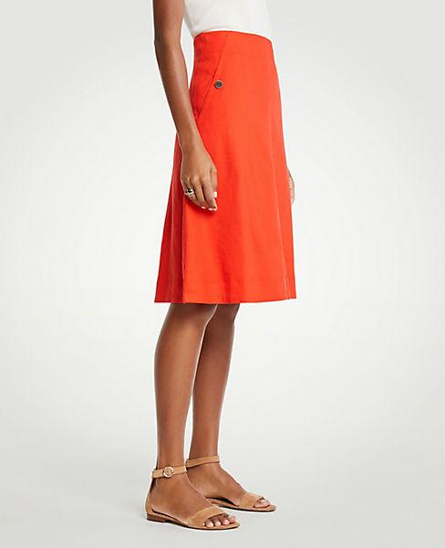 Petite Stretch Linen Cotton Pocket Skirt