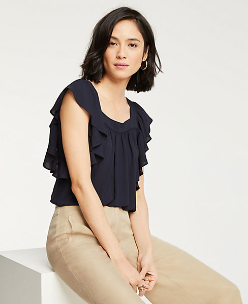 Petite Square Neck Flutter Sleeve Top