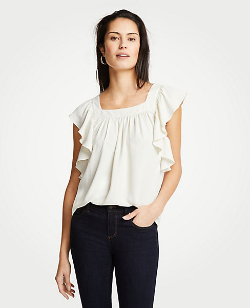Petite Flutter Square Neck Top