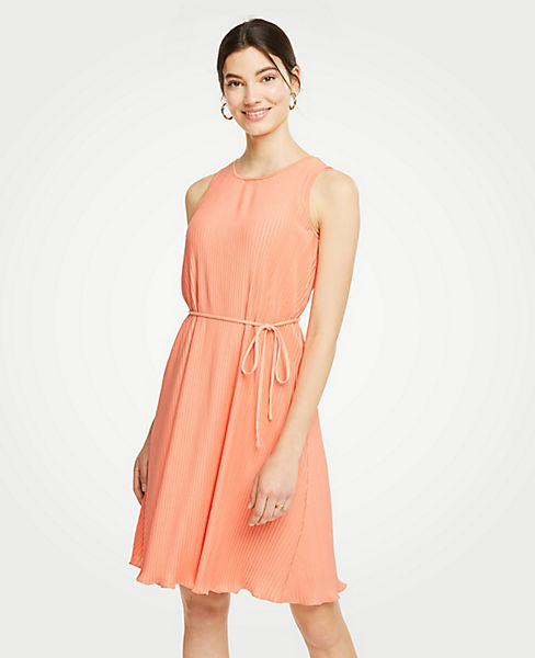 Petite Micro Pleat Belted Dress
