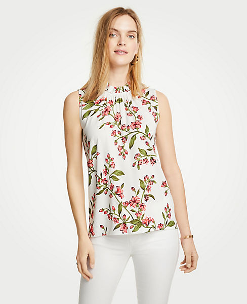 Petite Floral Corded Ruffle Neck Shell