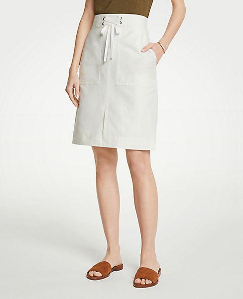 Petite Tie Waist A-Line Skirt