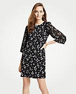 Image  Floral Chiffon Sleeve Shift Dress