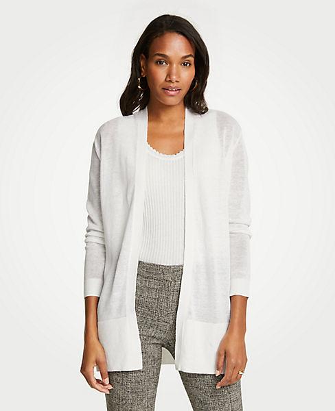 Petite Linen Blend Open Cardigan