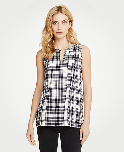 Petite Plaid Pleat Front Shell