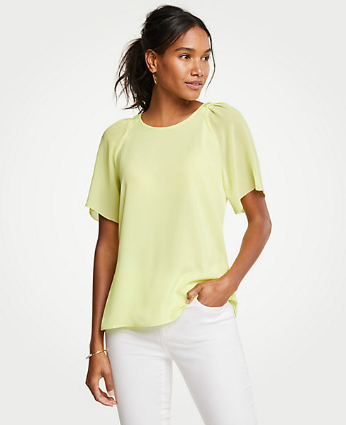 Petite Pleated Sleeve Tee