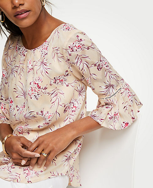 Petite Tropical Toile Flutter Sleeve Top