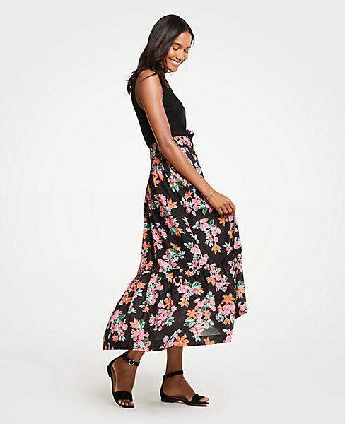 Petite Floral Garden Belted Maxi Skirt