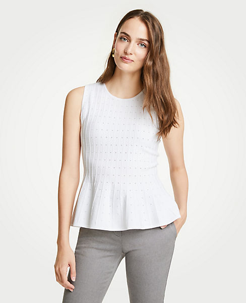 Petite Pointelle Peplum Sweater Shell