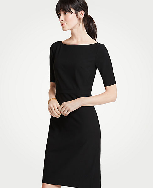 Petite Seasonless Stretch Elbow Sleeve Sheath Dress Ann Taylor