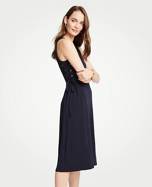 Petite Side Tie Knit Flare Dress