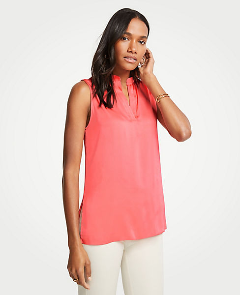 Petite Sleeveless Split Neck Top