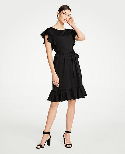 Petite Tie Waist Flutter Dress