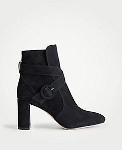 Lesley Suede Block Heel Booties