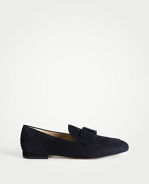 Adeline Suede Bow Loafers by Ann Taylor
