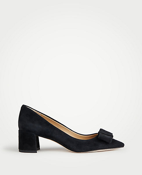 Payton Suede Bow Pumps by Ann Taylor