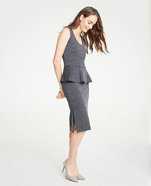 Marled Side Slit Pencil Skirt