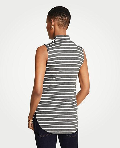 Striped Sleeveless Mock Neck Tunic