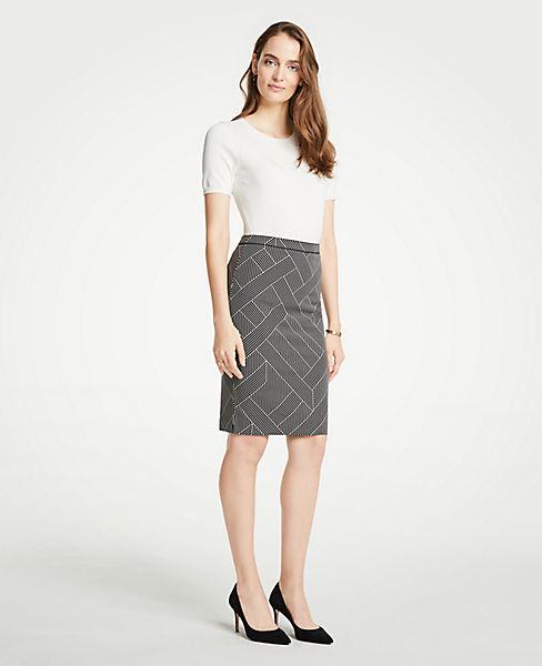 Petite Cross Stripe Pencil Skirt