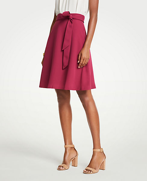 Petite Belted Flare Skirt