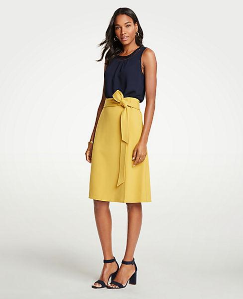 Petite Tie Waist Midi Wrap Skirt