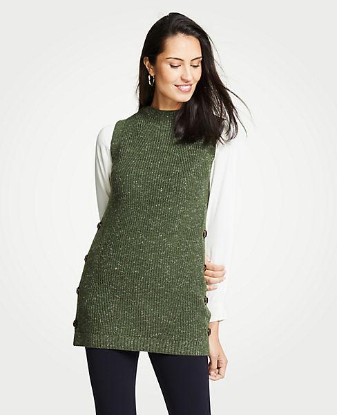 Petite Ribbed Mock Neck Sleeveless Tunic Sweater
