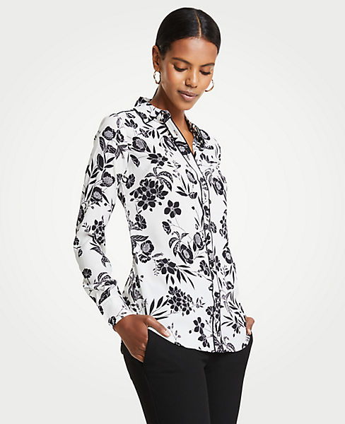 Petite Garden Piped Silky Perfect Shirt