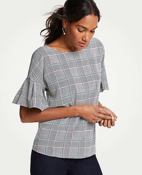 Petite Autumn Plaid Flutter Sleeve Top