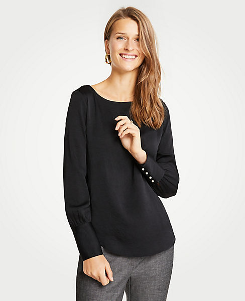 Petite Pearlized Cuff Boatneck Blouse
