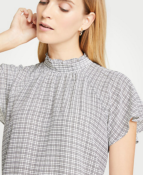 Petite Checked Mock Neck Flutter Sleeve Top