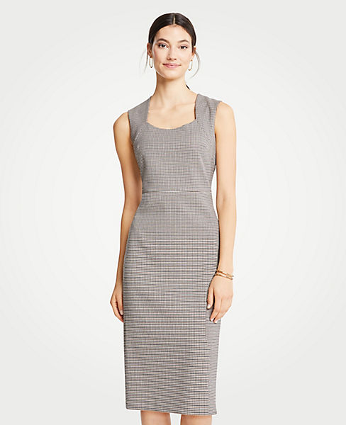 Petite Houndstooth Square Neck Sheath Dress