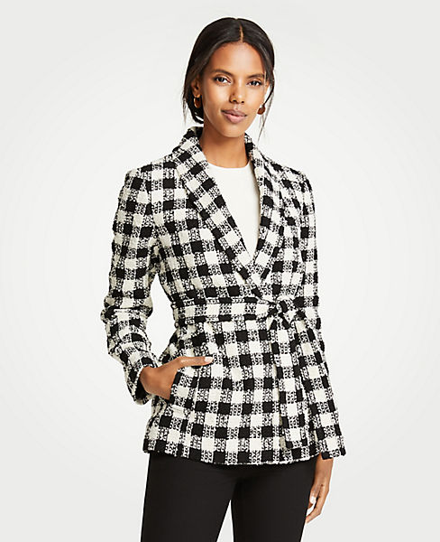 Petite Checked Belted Jacket