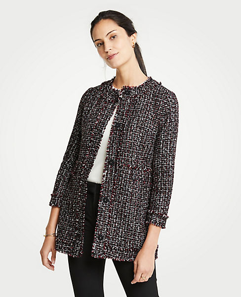 Petite Tweed Ruffle Collar Jacket